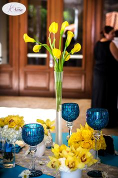 K Vera Events Blue and yellow wedding centerpiece