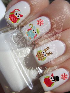 Christmas Xmas Nail Art Cute Owls Water Decals Nail Transfers Wraps