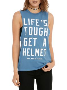 "Blue sleeveless tee from Boy Meets World with a ""Life's Tough Get A Helmet"" text design."