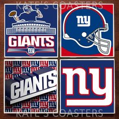 Set of 4 New York Giants football NFL ceramic coasters by KatesCoasters, $10.00
