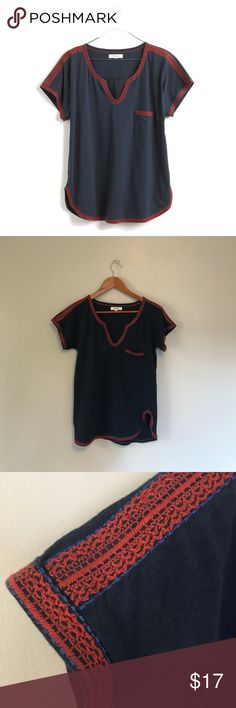"Madewell Stitchery Pocket Tee in navy Madewell Stitchery Pocket Tee features red and blue embroidery at the neck, shoulders, pocket and hemline.   Details include a split neckline, rounded hemline and chest pocket.  Size extra small, approximate measurements are 17"" from armpit to armpit laid flat and 25"" in length.  Pre-loved and from a pet friendly home.  Cover photo from Madewell website. Madewell Tops Tees - Short Sleeve"
