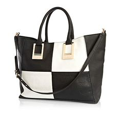 Black and white checkerboard tote bag - shoppers / tote bags - bags / purses - women