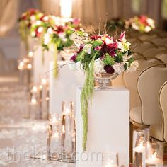 Real Weddings - A Glamorous Classic Wedding in Chicago, IL - Pedestal Floral Aisle Arrangements