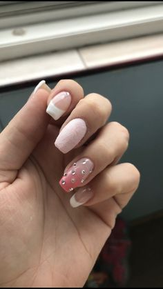 White pink french ombre rhinestones nails