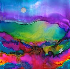 Dreamscape No. 288 - alcohol ink by ©June Rollins (via DailyPaintworks) No brushes used and is on yupo Alcohol Ink Crafts, Alcohol Ink Painting, Alcohol Ink Art, Art Watercolor, Copics, Art Plastique, Beautiful Paintings, Oeuvre D'art, Painting Inspiration