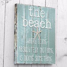 Beach Wall Art Ocean Phrases Wall Art Beach by RusticaHomeDecor