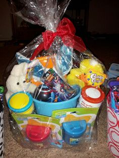 Awe this precious little valentines basket was for a 1 year old diy easter baskets for infants negle Images