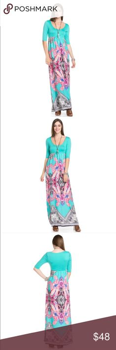 Boho Maxi Dress This chic boho MINT color maxi dress has 3/4 sleeves with a solid top contrast. Made in the USA. 100% polyester. Top part is stretchy and bottom part is woven. See separate listing in my closet to purchase the matching ROYAL color. The Blossom Apparel Dresses Maxi