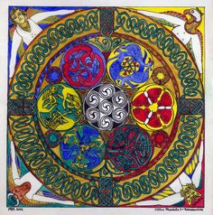 Celtic Mandala incorporating various symbols of resurrection and the Seven Living Creatures of Celtic tradition.