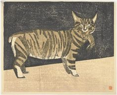 Maekawa Senpan (1888-1960) - Cat Carrying a Kitten.  Woodcut on Paper. Circa 1959.