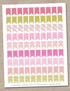 Pink and Gold Patterned Flags Planner Stickers Instant Download DIY Printable PDF