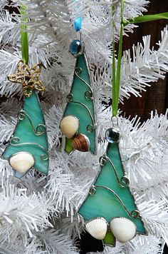 Whimsical At the Beach  Stained Glass Christmas Tree by miloglass, $23.00