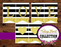 Gold Heart  BANNER  Black and White Stripe  by KROWNKREATIONS