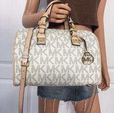 Michael Kors MK Signature PVC Medium Satchel Grayson Tote Crossbody Bag Vanilla #MichaelKors #ShoulderBag
