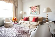 The base for Lilly's classically comfortable living room is a short-haired Moroccan rug, the answer to her dilemma of loving Moroccan rugs, but not wanting to constantly be fishing dropped crumbs out of their shaggy fibers.