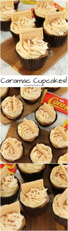Caramel hinted cupcake sponges topped with a luscious Caramac Frosting – perfect Caramac Cupcakes for any Caramel & Caramac lover! (frosting for cookies) No Bake Treats, Yummy Treats, Sweet Treats, Yummy Food, Cupcake Recipes, Baking Recipes, Dessert Recipes, Caramac Cupcakes, Caramac Cake
