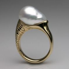 Bespoke South Sea Pearl Engagement Ring 18 Carat Yellow Gold & Baroque Pearl by Stephen Einhorn