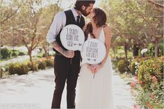 Newly Wedded Couple love cute wedding kiss hipster signs marriage