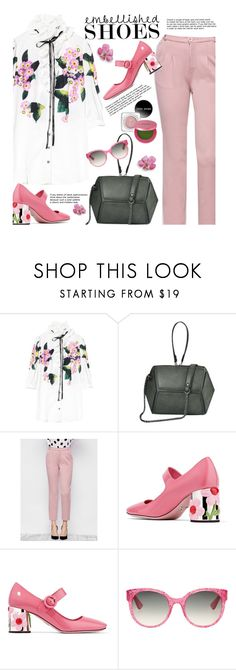 """""""Spring Style: Embellished Shoes"""" by beebeely-look ❤ liked on Polyvore featuring Prada, Gucci, Lipstick Queen, preppy, ruffles, embellishedshoes, twinkledeals and embellishedsleeves"""