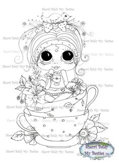 INSTANT DOWNLOAD Digital Digi Stamps Big Eye Big Head Dolls Digi  Sweet Tea Sweetie By Sherri Baldy