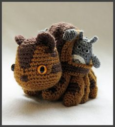 """It's the Catbus from Totoro! Don't know why but I wanted to make him, pattern is made up by me.  See here for side view. Size: 5.5"""" tall, 10"""" nose to tail. Totoro Size: 2.75"""" to t..."""