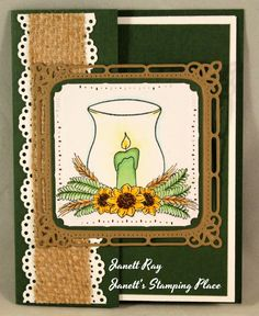 Janett's Stamping Place: Burlap and Lace. Double Front Card