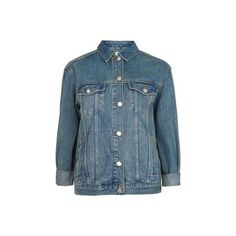TopShop Moto Oversized Western Denim Jacket ($85) ❤ liked on Polyvore featuring outerwear, jackets, mid stone, boyfriend jacket, blue jackets, lined jacket, cowboy jacket and blue jean jacket