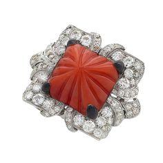 Art Deco Diamond, Coral, Enamel and Platinum Ring