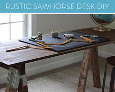 How to build a rustic sawhorse desk -- without ever picking up a hammer! #DIY #furniture