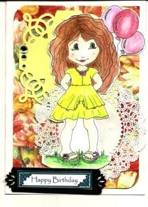 Happy Birthday Girl, isn't she adorable. Made with supplies from scrapbookstampshop.com and come follow us on ladybugstamper.wordpress.com