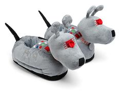"""Allons-y, feet! The classic """"Doctor Who"""" companion K-9 now comes in fuzzy footwear for Whovians, alongside tweed suit and Tardis slippers, on ThinkGeek."""