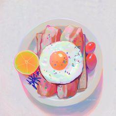 Pretty Art, Cute Art, Food Illustrations, Illustration Art, Food Painting, Pretty Drawings, Wow Art, Food Drawing, Art Studies