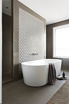 Aspire Home. Ensuite with walk through shower, freestanding bath and stone mosaic. - Amazing Homes Interior Bathroom Renos, Bathroom Interior, Modern Bathroom, Master Bathroom, Bathroom Bath, Bath Room, Bath Tub, Small Bathrooms, Bathroom Feature Wall Tile