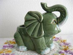 Nursery Display Green Baby Elephant Pottery Animal Planter Vase Plant Pot - Other