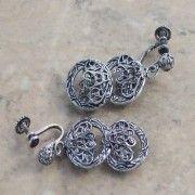 Filigree vintage screw back earrings in antique silver | vintage jewellery | Jewels & Finery UK
