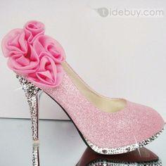 ピンクファンタスティックファイブバラゴールデンハイヒール女性プロム靴