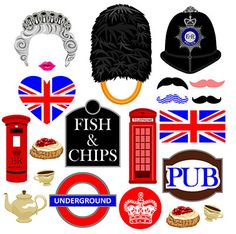 London photo booth props instant download by DigitalPhotoBooth