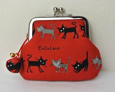 Coin Purse with a little shell bell Cats in Red by tagodesign, $16.90