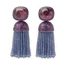 A Pair of Spinel  and Sapphire Tassel Ear Pendants,  by Hemmerle Absolutely awesome
