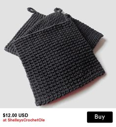 Pot Holder - Hot Pad - Crochet - Trivet - Black - Made to Order