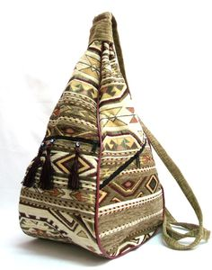 Ethnic Tribal Style Backpack - Bohemian Crossbody Bag - Exotic Shoulder   Bag - Extraordinary Design - Pear Shaped Odd Bag on Etsy, $34.00