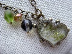 Green Gold Ivory Enameled Heart Pendant by MaggieMarieCreations, $22.00
