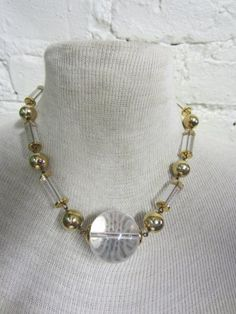 70s Disco Lucite and Gold Tone Short Choker by BranchOutShop