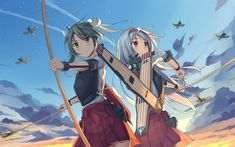 Download wallpapers Shoukaku, Zuikaku, art, manga, Kancolle, Kantai Collection
