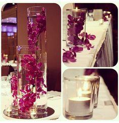 Bridal table decoration #purple #orchid #centerpiece #wedding www.decorit.com.au