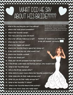 What did he say about his Bride, Bridal Shower Games, Chalkboard Bridal Shower Game, Couples Bridal Shower Game, – Wedding Planning Organization Bachlorette Party, Bachelorette Parties, Bachelorette Party Checklist, Bridal Shower Checklist, Bridal Shower Questions, Bridal Shower Question Game, Wedding Questions, Nye Party, Work Party