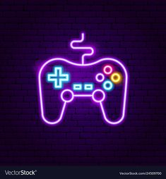 Game console neon sign vector image on VectorStock Cool Neon Signs, Custom Neon Signs, Neon Light Signs, Led Neon Signs, Neon Light Wallpaper, Purple Wallpaper Iphone, Aesthetic Iphone Wallpaper, Purple Games, Whatsapp Logo