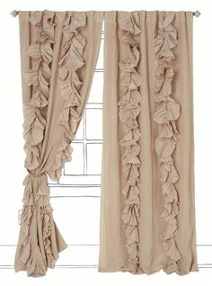"Love these! This is my next ""big"" sewing project I'm taking on! I'm in the process of redecorating and these feminine, soft curtains in a gray color and paired with my ""cold"" colors are going to be perfect!"