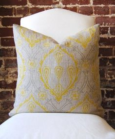 """Yellow and Grey Hand Print on Natural Linen - Pillow Cover - 20""""x20"""". $70.00, via Etsy."""