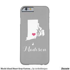 Rhode Island Heart Gray Custom Monogram Barely There iPhone 6 Case